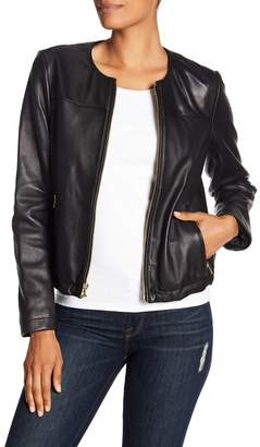Cole Haan Collarless 2-Pocket Leather Jacket