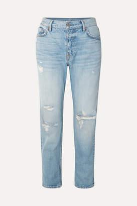 GRLFRND Olivia Distressed Slim Boyfriend Jeans - Mid denim