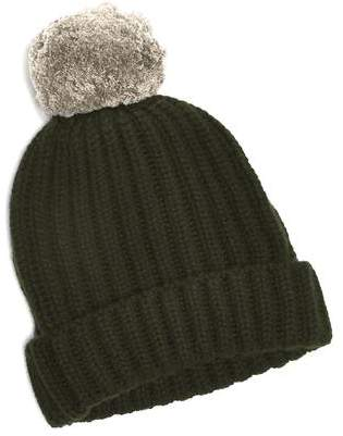 Corgi Big Pom Knit Two Tone Cashmere Hat in Green