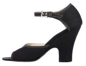 Prada Woven Ankle-Strap Pumps