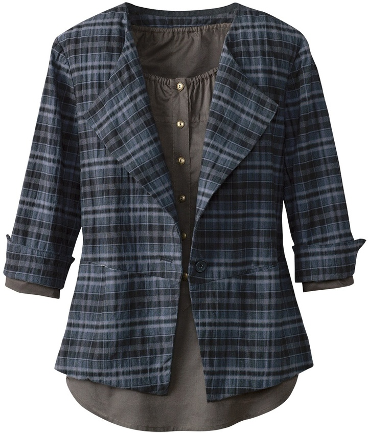 Coldwater Creek Plaid wing collar jacket