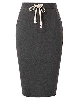 Liumilac Women Drawstring Waist Pencil Skirt with Pockets Hips-Wrapped Stretchy
