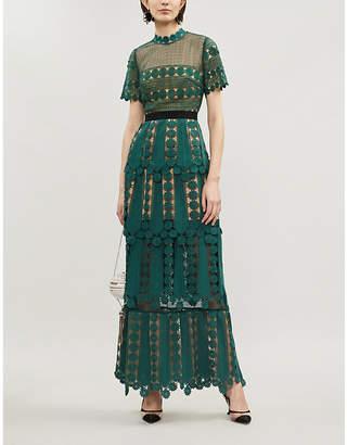 Self-Portrait Teardrop lace maxi dress