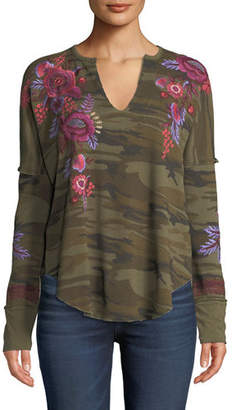 Johnny Was Marcella V-Neck Thermal Top with Floral Embroidery, Plus Size