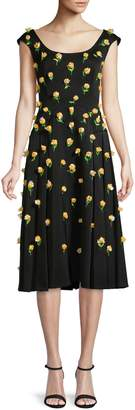 Zac Posen Floral Pleated Knee-Length Dress