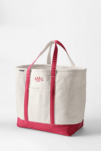 Lands' End Extra Large Natural Open Top Canvas Tote Bag