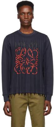 Loewe Navy Anagram Fringe Sweatshirt