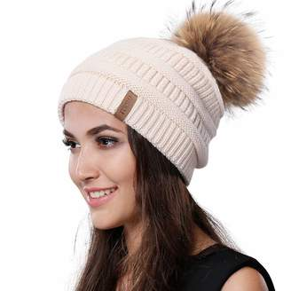5b17eced5c4 at Amazon Canada · Womens Winter Knit Beanie Hat Slouchy Skull Cap Real Fur  Pom Pom Hats Cap For Girls