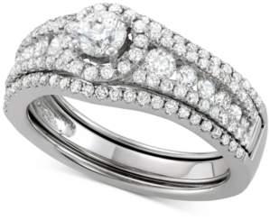 Macy's Diamond Halo Enhancer Bridal Set (1-1/3 ct. t.w.) in 14k White Gold