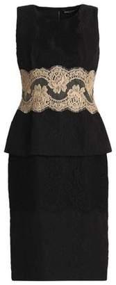 Dolce & Gabbana Lace-Trimmed Jacquard Peplum Dress