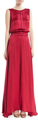 Forte Forte Satin V-Back Sleeveless Maxi Dress