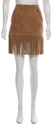 Barbara Bui Fringed Suede Skirt