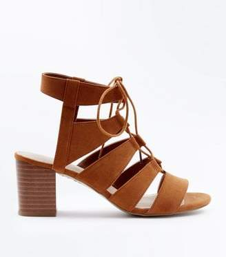New Look Tan Comfort Flex Suedette Ghillie Heels