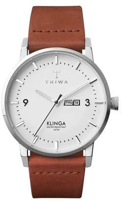 Triwa Snow Klinga Leather Strap Watch, 38mm