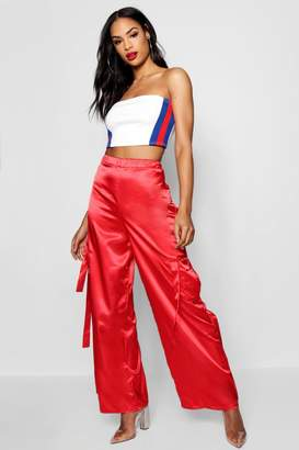 boohoo Thea Satin Cargo Trouser