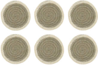 The Braided Rug Company - Coasters Set of 6 - Grey/Cream