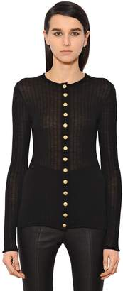 Balmain Wool Rib Jersey Top W/ Buttons