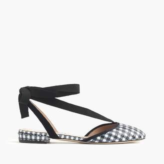 Gingham ankle-wrap flats $138 thestylecure.com