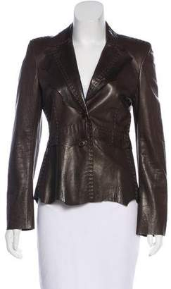 Strenesse Leather Button-Up Jacket