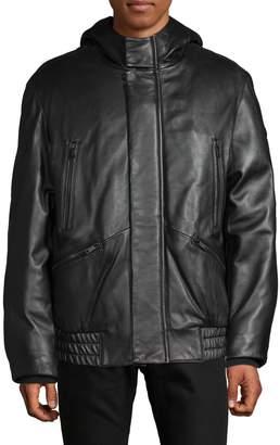 DKNY Hooded Leather Jacket