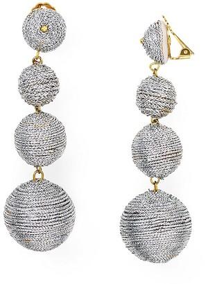 Kenneth Jay Lane Thread Ball Clip On Earrings $95 thestylecure.com