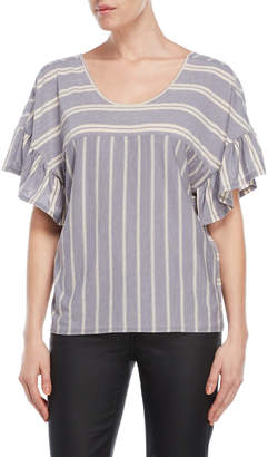 Lucky Brand Striped Ruffle Sleeve Top