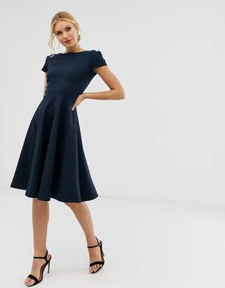 Closet London cap sleeve mini skater dress in navy