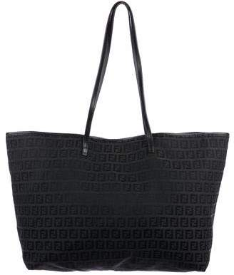Fendi Leather-Trimmed Zucchino Tote