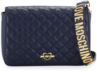 Love Moschino Quilted Logo-Strap Shoulder Bag