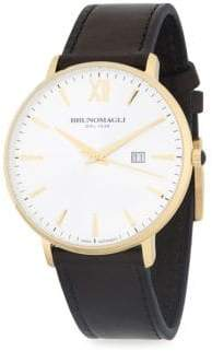 Bruno Magli Gold Ion Plated Slim Case Leather Strap Watch