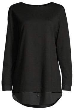 Lafayette 148 New York Knox Faux-Shirt Combo Top