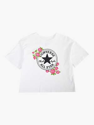 Converse Girls' Rose Print Cropped T-Shirt, White