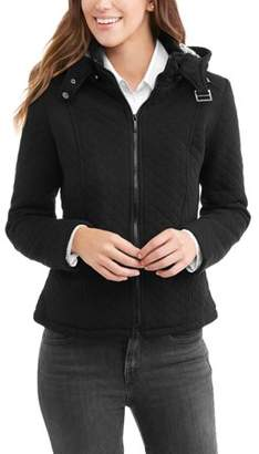 Yoki Women's Quilted Sherpa Lined Fleece Jacket With Removeable Hood