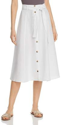 Three Dots Button-Down Linen Midi Skirt