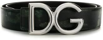 Dolce & Gabbana camouflage logo buckle belt
