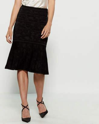 Carolina Herrera Lurex Floral Stripe Midi Skirt