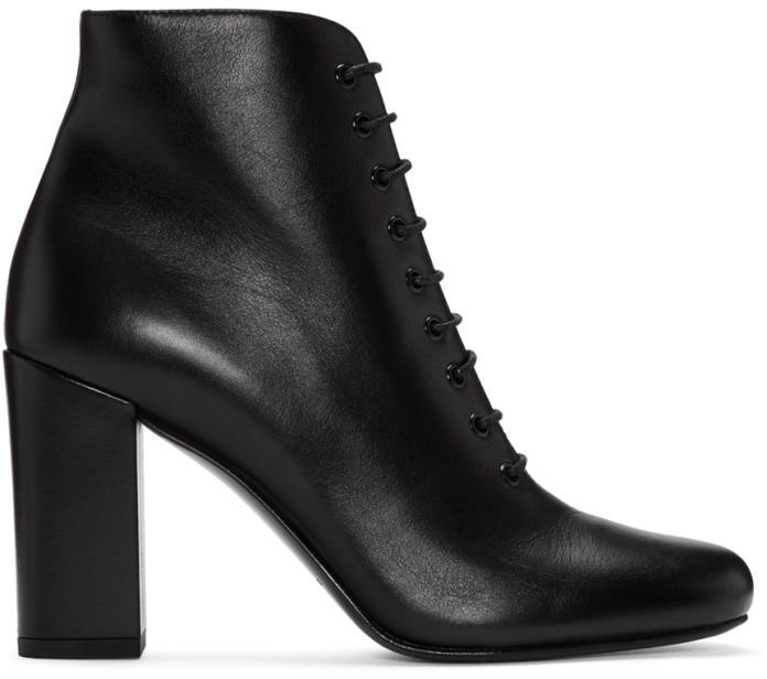 Saint Laurent Black Lace-Up Babies Boots