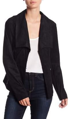 Blanc Noir Faux Suede Drape Jacket