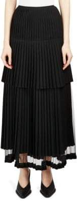 Stella McCartney Layered Plisse Wool Skirt