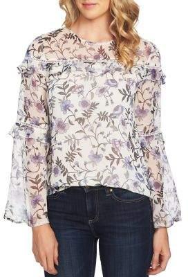 CeCe Velvet Petals Floral-Print Top