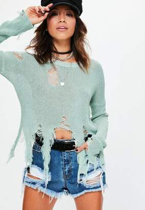 Missguided Green Distressed Knit Sweater