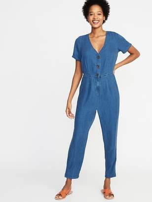 3f5e6cff902 Old Navy Chambray V-Neck Button-Front Jumpsuit for Women