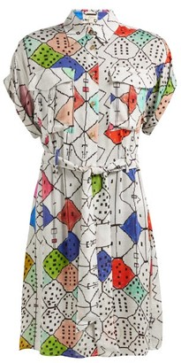 Chufy - Soufiane V Neck Tie Waist Shirtdress - Womens - White Multi