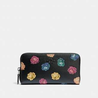 Coach Accordion Zip Wallet With Rainbow Rose Print