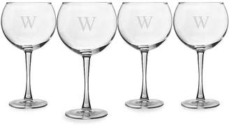 Cathy's Concepts CATHYS CONCEPTS Monogram Etched Glass Set of 4 Personalizable Wine Glasses