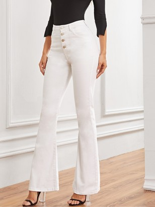 Shein Solid Button Fly Flare Leg Jeans
