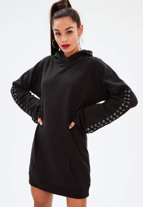 Missguided Black Long Sleeve Hooded Sweat Dress