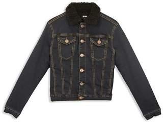 Hudson Boys' Dante Denim Jacket with Faux-Shearling Collar - Big Kid