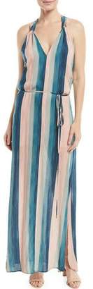 Vix V-Neck Sleeveless Striped Coverup Maxi Dress