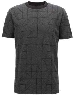 BOSS Hugo Bauhaus-inspired patterned T-shirt in mercerized cotton jacquard M Black